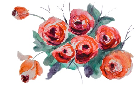 watercolor pen: Watercolor background with stylized rose flowers  Stock Photo