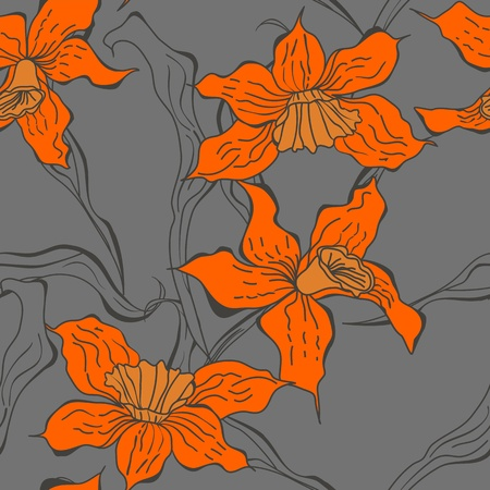 Seamless wallpaper with Narcissus flowers  Vector