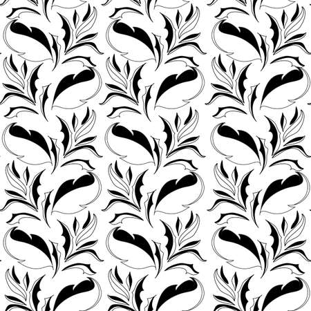 Black and white seamless wallpaper with floral element Stock Vector - 13553252