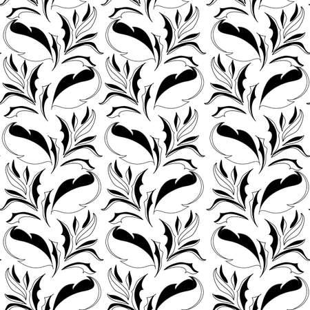 Czarno-biały bez szwu tapety z kwiatów elementu