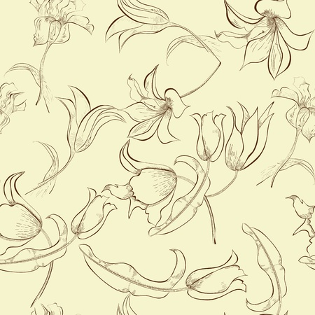 tulips: Floral seamless pattern