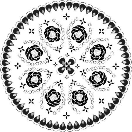 Black and white ornamental round lace pattern, Vector