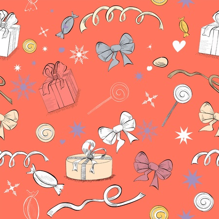 Decorative seamless pattern with gifts and sweets Vector