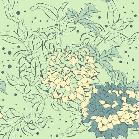 floral tracery: Vector seamless pattern with summer flowers