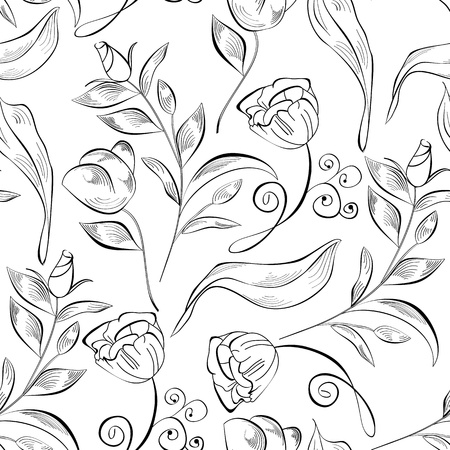 flowers black background: Decorative seamless pattern with original flowers Illustration