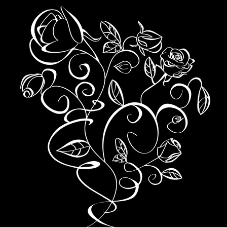 rose silhouette: Decorative illustration of Roses flowers