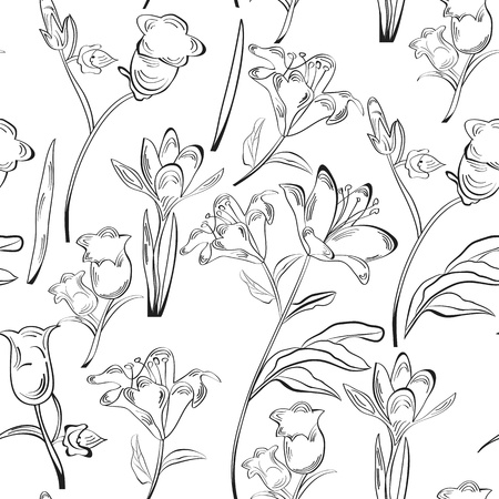 black and white line drawing: Monochrome seamless wallpaper with beautiful flowers