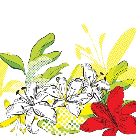 flores vintage: Summer background with decorative flowers