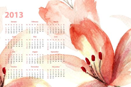 Template for calendar 2013 with lily flowers  photo