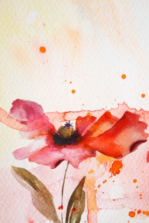 abstract paintings: Watercolor background with red flower