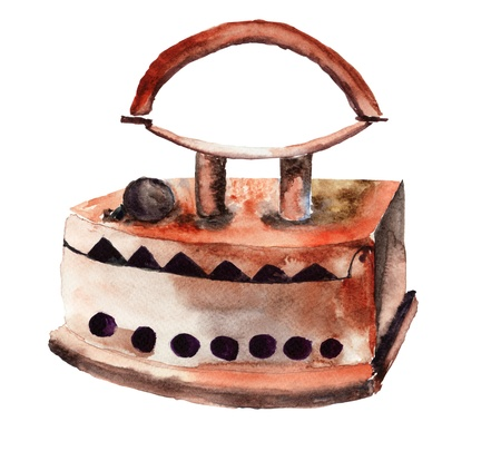 antiquities: Vintage iron. Watercolor illustration