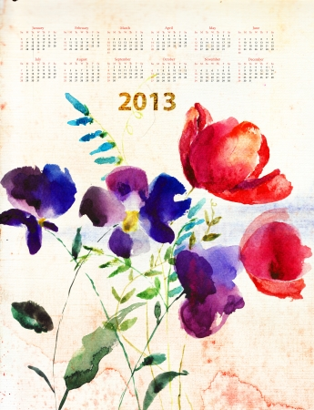 Calendar for 2013 with decorative summer flowers photo