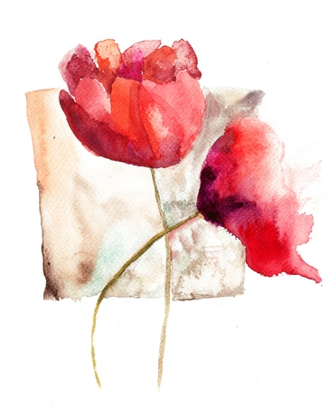Watercolor template for card with red flowers photo