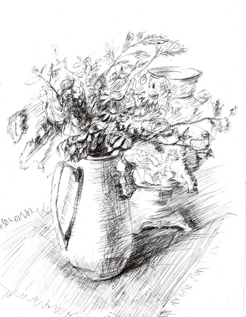 Pitcher with flowers photo