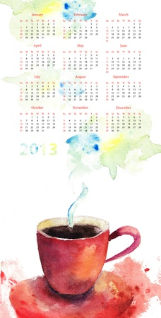 Original calendar for 2013 with A cup of coffee photo