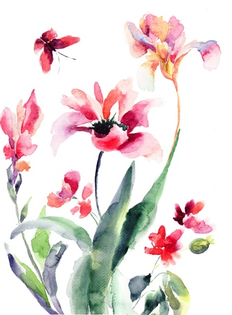 botanical branch: Stylized flowers, watercolor illustration