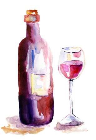 burgundy drink glass: Glass of red wine and a bottle, watercolor illustration Stock Photo