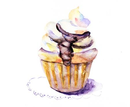 custard: Watercolor illustration of cake