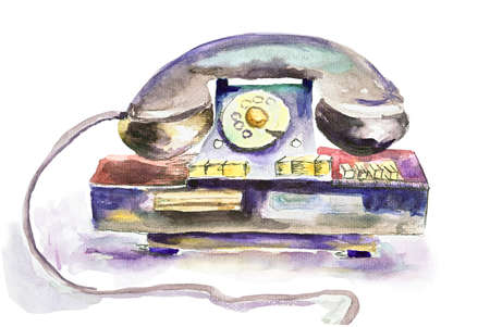 Old fashioned phone, watercolor illustration Stock Illustration - 14011367