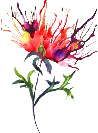 Abstract illustration of Peony flowers illustration