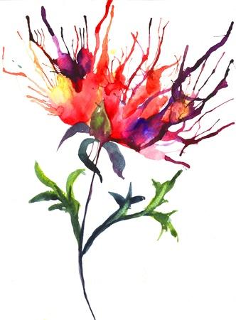 Abstract illustration of Peony flowers Stock Illustration - 14011316