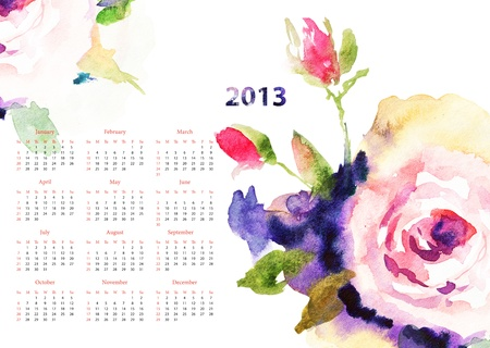 Calendar with Roses flowers for 2013 photo