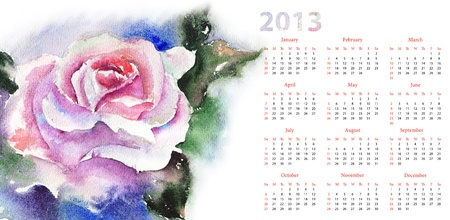 Pink Rose on blue background, Calendar for 2013 photo
