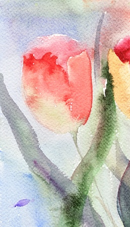 watercolor pen: Watercolor background with stylized tulips flowers Stock Photo