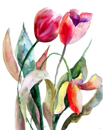 painting nature: Tulips flowers