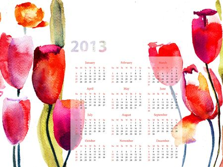 Colorful calendar for 2013 with Red Tulips flowers photo