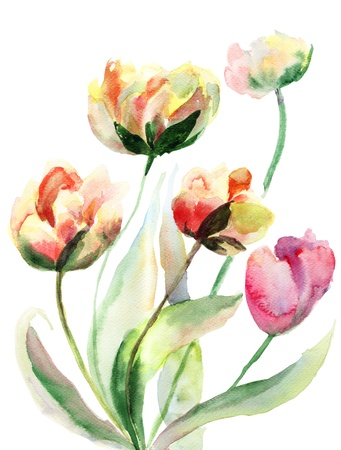 Decorative watercolor flowers photo