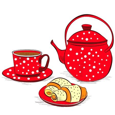 瀬戸物: パンと紅茶のカップ  イラスト・ベクター素材