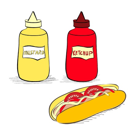 mustard: Ketchup and mustard bottles with hot dog Illustration