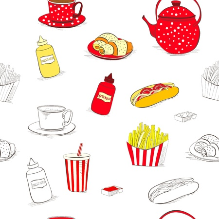 mustard: Seamless wallpaper with a lot of food