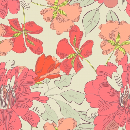 flower structure: Colorful seamless pattern with decorative flowers