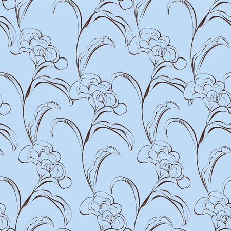 Seamless wallpaper with decorative flowers  Vector