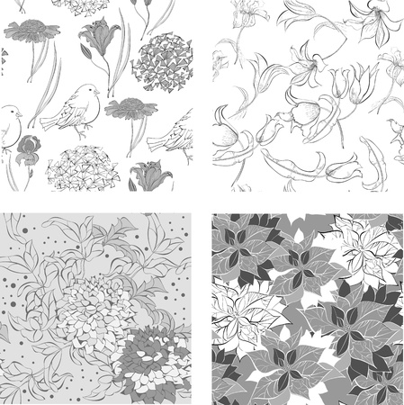 Set of monochrome Seamless wallpaper with flowers Vector