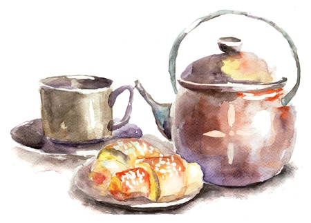Cup of tea with buns, watercolor illustration illustration