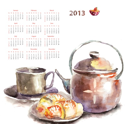Calendar for 2013 wit watecolor illustration a Cup of tea with buns illustration