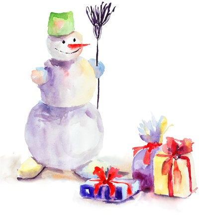 christmas watercolor: Christmas card with snowman, watercolor painting