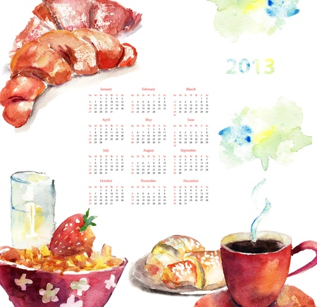 Cup of coffee with buns, watercolor illustration, Calendar for 2013  illustration