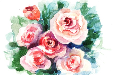 Roses flowers, watercolor painting  photo