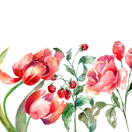 Beautiful flowers, Watercolor painting  photo