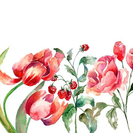 raspberries: Beautiful flowers, Watercolor painting  Stock Photo