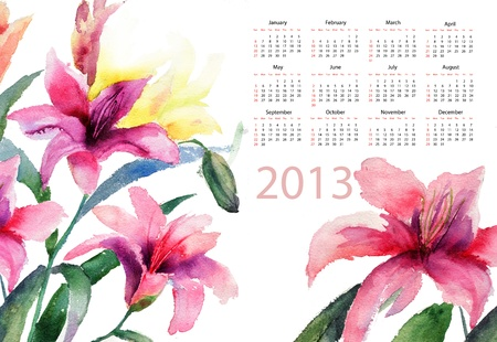 Beautiful Lily flowers, watercolor illustration, calendar for 2013 illustration