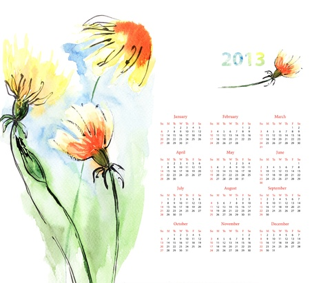 Calendar for 2013 with Dandelion photo
