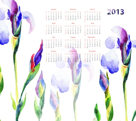 Calendar with Iris flowers for 2013 photo