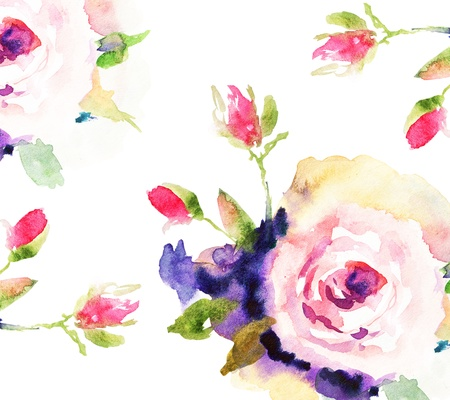 watercolor flower: Roses, watercolor illustration