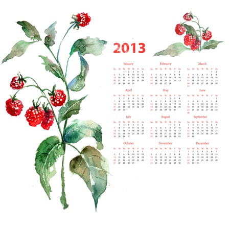 Calendar for 2013 with Raspberry, watercolor illustration illustration