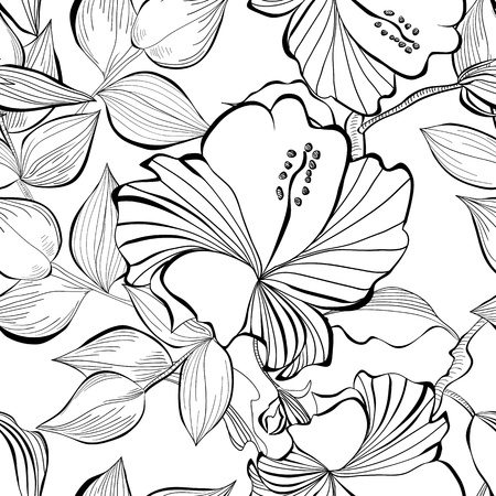 Romantic seamless background with decorative flowers Vector